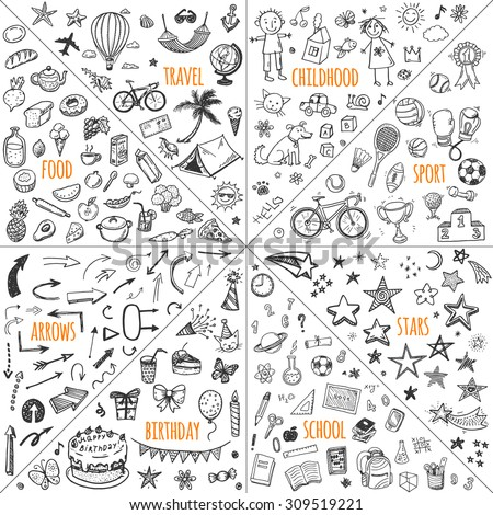 Mega doodle design elements vector set. Hand drawn illustrations: travel, childhood, sport, school, birthday, arrows, food.  - stock vector