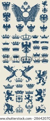 Mega Heraldic set. - stock vector