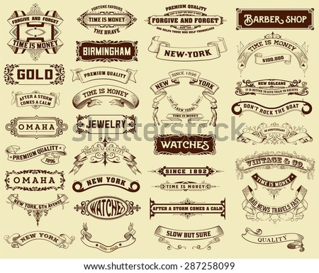 Mega pack of labels and banners - stock vector
