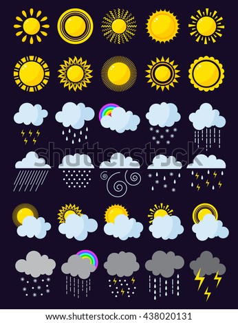 Mega pack of weather icons snow climate, sun forecast, rainy storm. Snowflake set wind moon cloud weather icons. Weather icons cloudy design sky nature temperature sunny, cold thunderstorm season. - stock vector