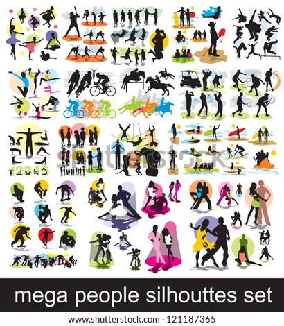 mega people silhouettes set - stock vector