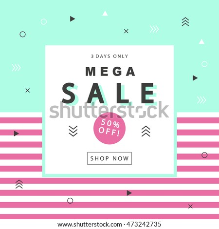 Mega Sale banner with geometric shapes in scandinavian, swiss, 80s, 90s trendy style. Special offer, discount concept. Typographic design poster, flyer template for your business. Vector illustration