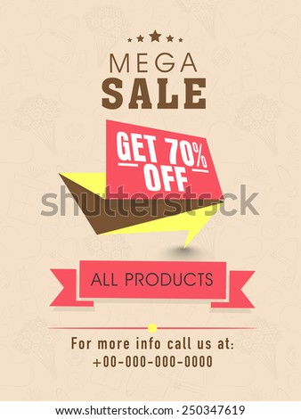 Mega sale flyer, banner or template design with discount offer on all products. - stock vector