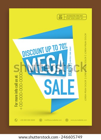 Mega Sale flyer, template or banner with discount upto 70% off. - stock vector
