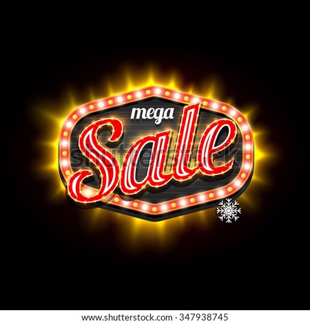 Mega Sale retro light frame template. Vector illustration