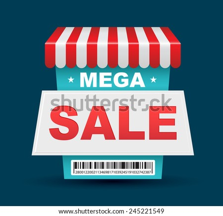 Mega Sale shop banner design with barcode. Vector illustration. - stock vector