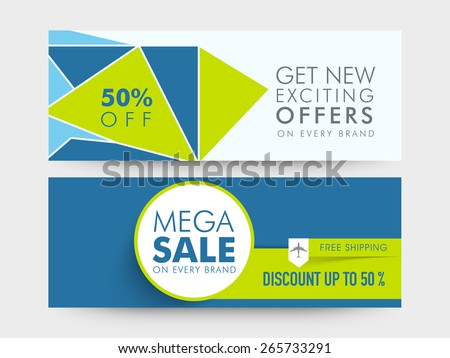 Mega Sale website header or banner set with free shipping and 50% discount offer on every brand. - stock vector
