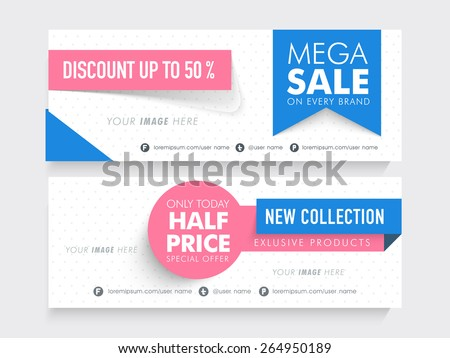 Mega Sale with half price special offer on new collection, creative website header or banner set with place holder.  - stock vector