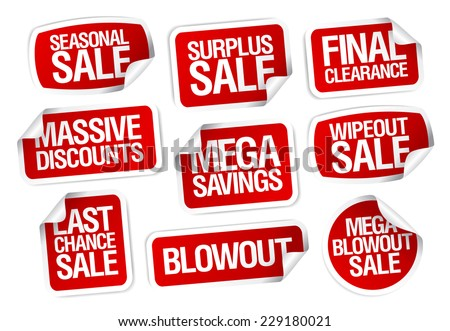 Mega savings, sale stickers set. - stock vector