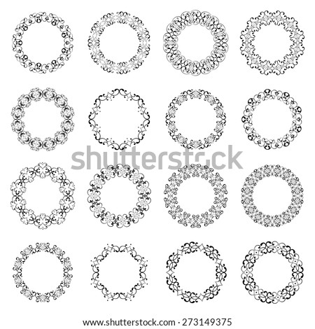 Mega set collections of round  lacy frames for your text or photo. Ornamental black elements isolated on white background. Vector illustration. Can use for birthday card, wedding invitations, monogram - stock vector