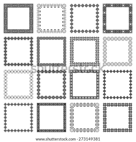 Mega set collections of square lacy frames for your text or photo. Ornamental black elements isolated on white background. Vector illustration. Can use for birthday card, wedding invitations - stock vector