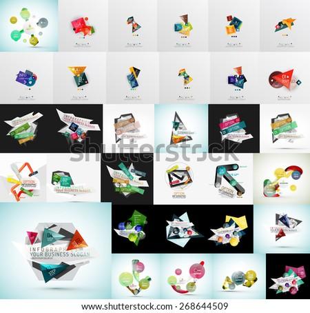 Mega set of abstract geometric web banner decorations. Vector illustration - stock vector