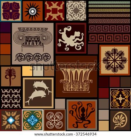 Mega Set Ancient Greece Patterns Columns Stock Vector 372546934 ...