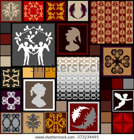 Mega set of baroque seamless patterns and design elements. Angels, portraits, feathers, floral and geometrical ornaments. Art history collection. Red, grey and golden shadows palette. - stock vector