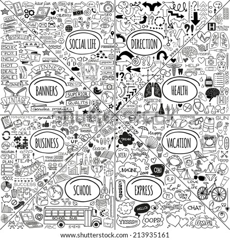 Mega set of doodle social, business, medicine, vacation and school icons, banners, arrows, speech bubbles and more. Hand drawn designer elements. Vector illustration - stock vector