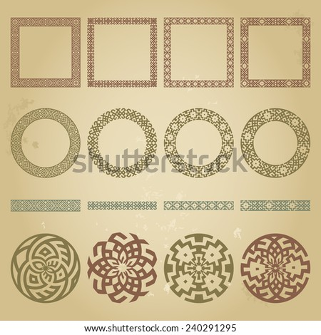Mega set of ethnic design elements. Greek traditional symbolic border, round and square frames, signs in huge collection in different colors on grunge beige background. Vector illustration  - stock vector