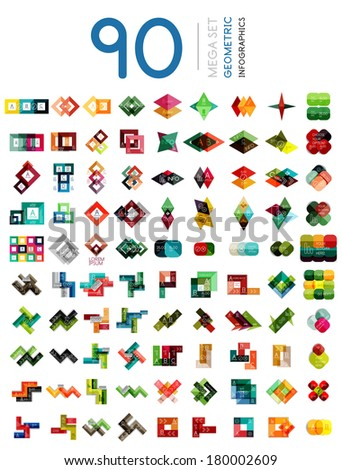 Mega set of geometric shaped infographic option banners - 90 design elements. For banners, business backgrounds, presentations - stock vector