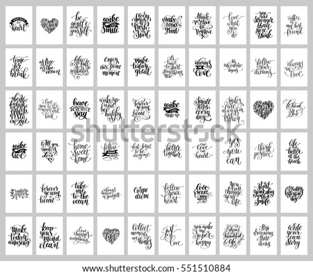 Mega Set Of 60 Hand Written Lettering Positive Inspirational Quote Posters  About Life, Modern Calligraphy