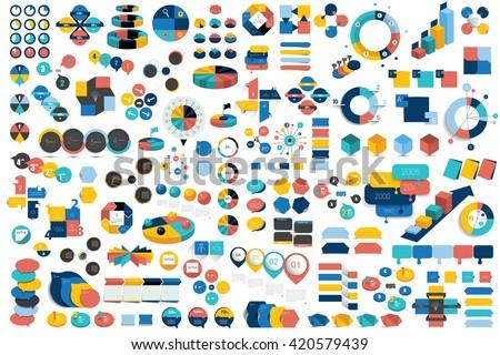 Mega set of infographic elements charts, graphs, diagrams, speech bubbles. Flat and 3D design. Vector. - stock vector