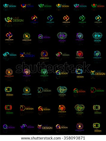 Mega set of multicolored swirl and circle logos, loop cycle infinity concepts - stock vector