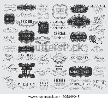 Mega set of Ornate frames and scroll elements. Set of calligraphic and floral design elements - stock vector