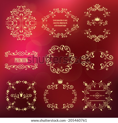 mega set of retro designs. frames with crowns for photo or sample text isolated on blurred red background. vector illustration. can use for birthday card, wedding invitations. luxury design elements - stock vector
