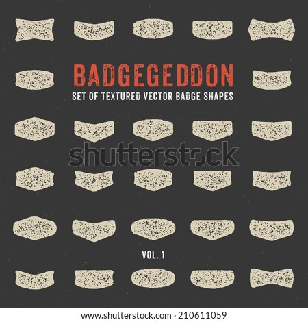 Mega set of retro textured with grunge effect vector badge shapes, collection of design elements for creating retro logos with that vintage touch (volume 1) - stock vector