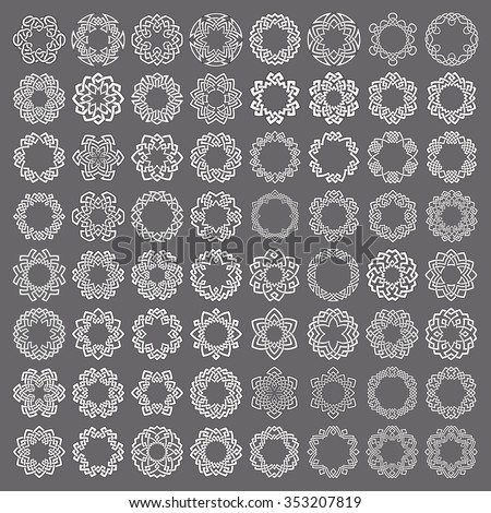 Mega set of round frames. Sixty four patterned circles. Hexagonal decorative elements for logo or monogram design. Mandalas collection of white lines with black strokes on gray background. - stock vector