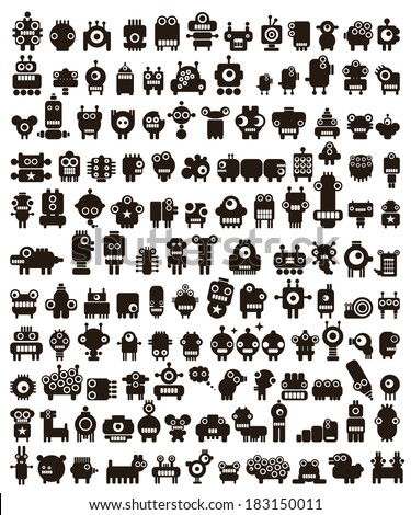 Mega set of small monsters and robots. Vector collection of space creatures. - stock vector
