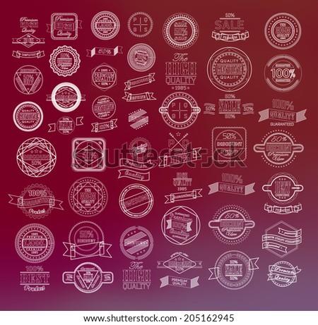 Mega set of thin lineretro vintage ribbons and label - stock vector