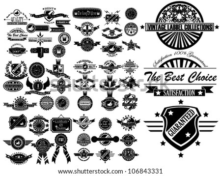 MEGA SET OF VINTAGE LABEL COLLECTION - stock vector