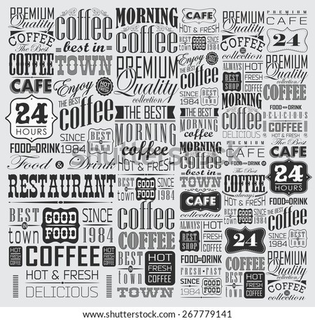 Mega set of Vintage Retro Coffee  Labels and typography. Coffee decoration collection - stock vector