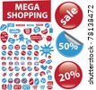 mega shopping icons, signs, vector illustrations - stock vector
