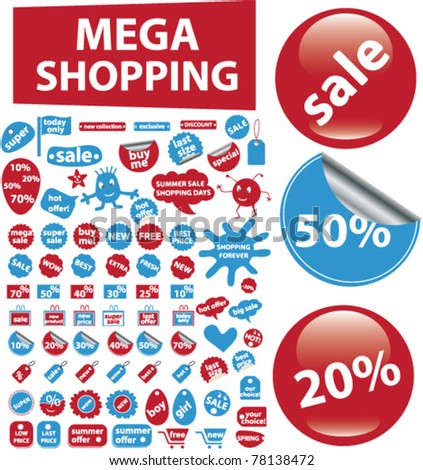 mega shopping icons, signs, vector illustrations - stock vector
