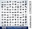 Mega travel and transport icon set - stock vector