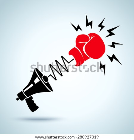 Megaphone and glove - stock vector