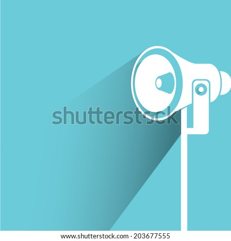 megaphone, blue background, flat and shadow theme - stock vector