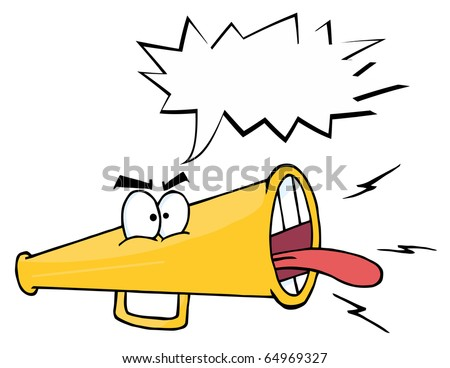 Megaphone Cartoon Character Screaming With Shout Bubble - stock vector