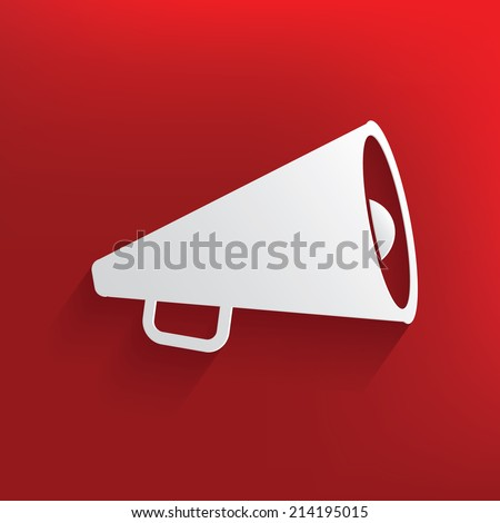 Megaphone design on red background,clean vector