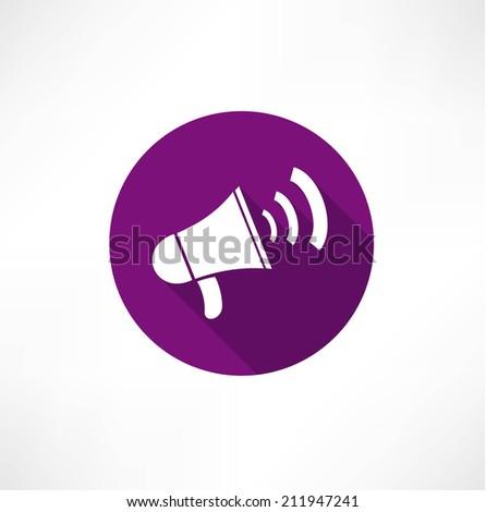 megaphone, flat icon  - stock vector