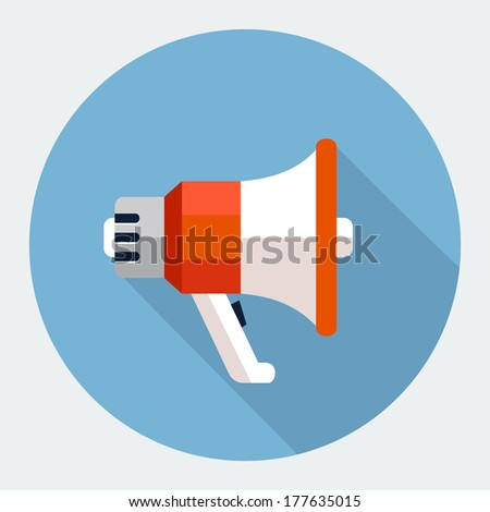 Megaphone flat icon,long shadow  - stock vector