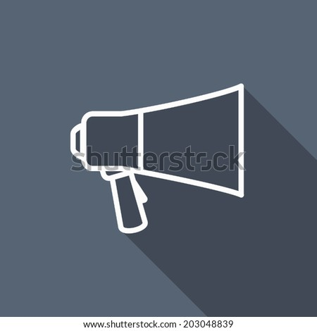 megaphone icon with long shadow - stock vector