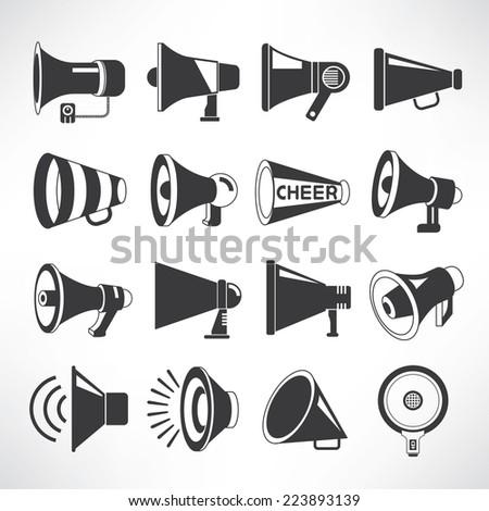 megaphone icons set, speaker icons vector - stock vector