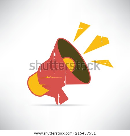 megaphone in grunge and retro style - stock vector
