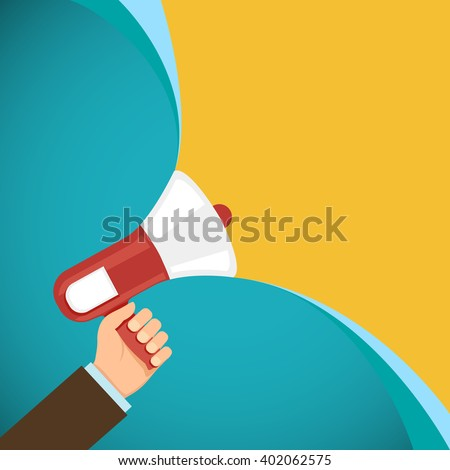 Megaphone in human hand. Marketing and promotions. Democracy and elections. Stock vector illustration. - stock vector