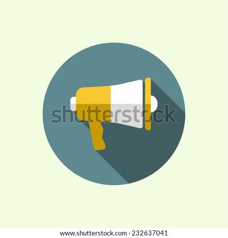 Megaphone, loudspeaker. for social media marketing concept. Notification through the speaker, advertisement bullhorn. Flat design with long shadow - stock vector