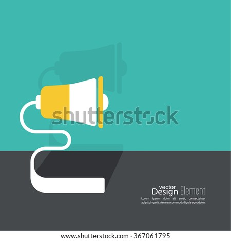 Megaphone, loudspeaker. for social media marketing concept. Notification through the speaker, advertisement bullhorn. Contacts. Flat design with shadow. - stock vector