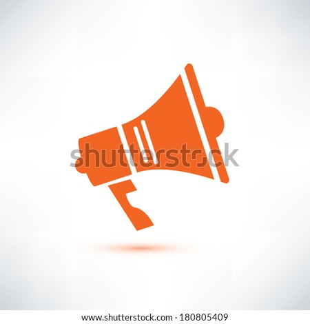 megaphone, loudspeaker isolated symbol - stock vector