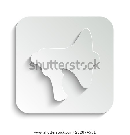 Megaphone, loudspeaker - vector icon with shadow on a grey button