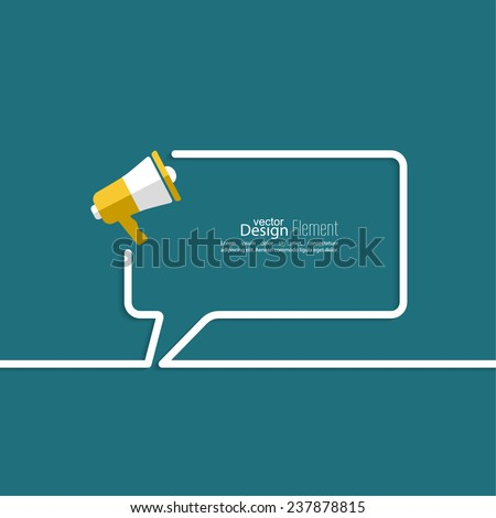 Megaphone, loudspeaker with bubbles speech. for social media marketing concept. Notification through the speaker, advertisement bullhorn. Chat symbol. Outline.  - stock vector